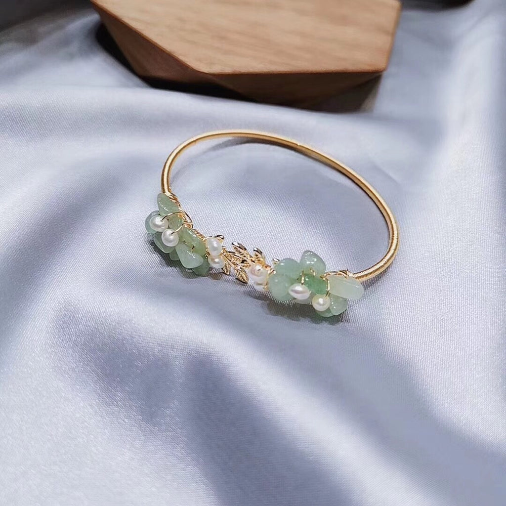 14k gold green jade bangle bracelet - Xingjewelry