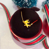 Pure 18k gold deer Christmas necklace gift pack - Xingjewelry