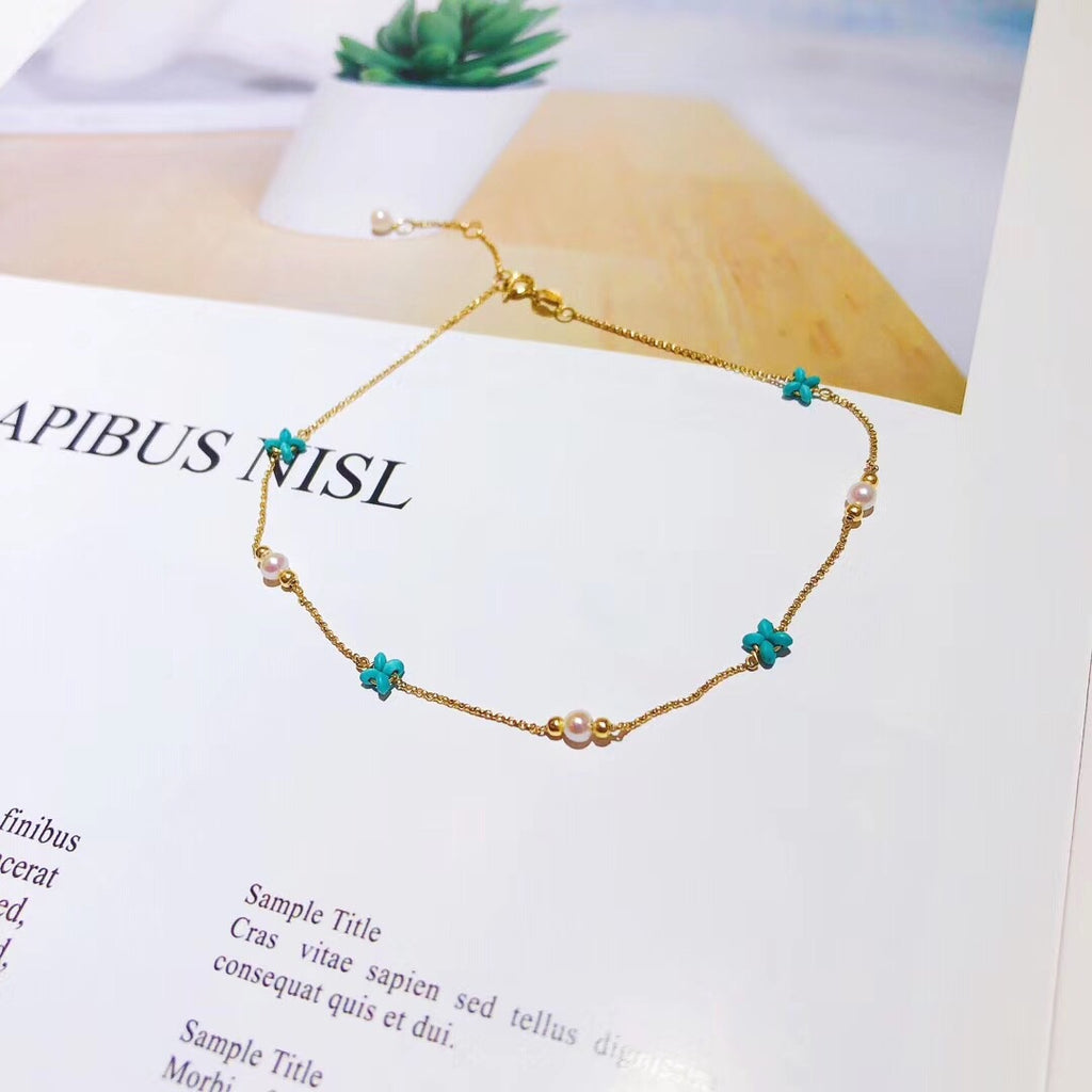 18k gold turquoise pearl bracelet - Xingjewelry