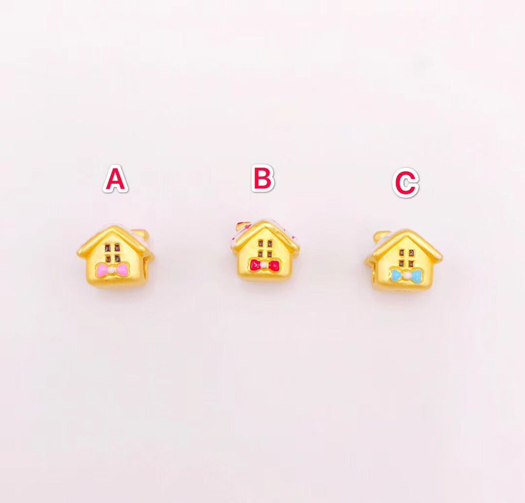 Solid gold sweet home pendant charm