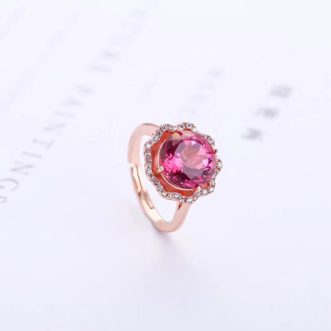 18k gold plating red topaz ring - Xingjewelry