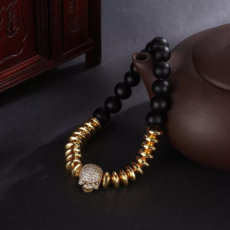 Gold skull head anaceous stone elastic hot selling bracelet