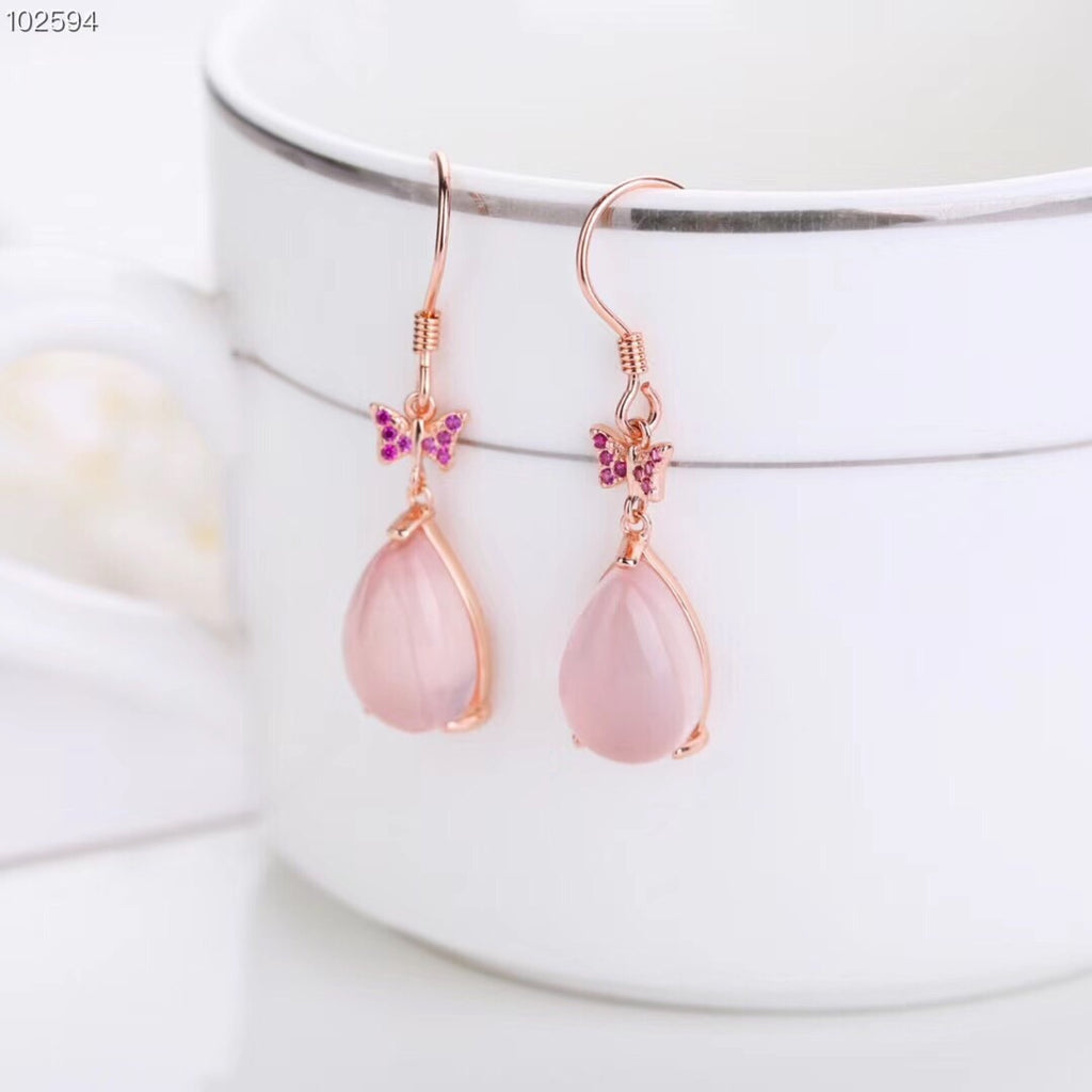 925 Sterling silver pink crystal earring - Xingjewelry