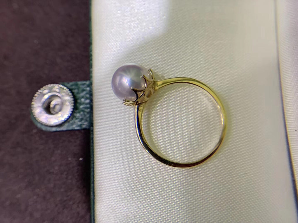 18k gold white pearl ring - Xingjewelry