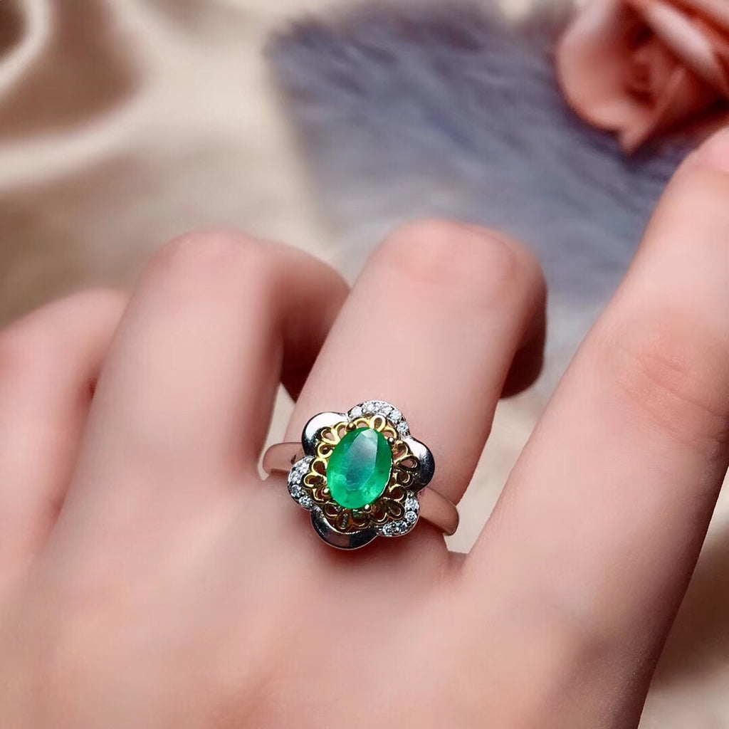 925 sterling silver emerald stone necklace ring set gift
