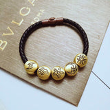 Luxury leather bracelet with 5 pcs 18k gold charm w/vintage clasp - Xingjewelry