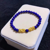 18k solid gold mythical wild animal blue agate bracelet - Xingjewelry