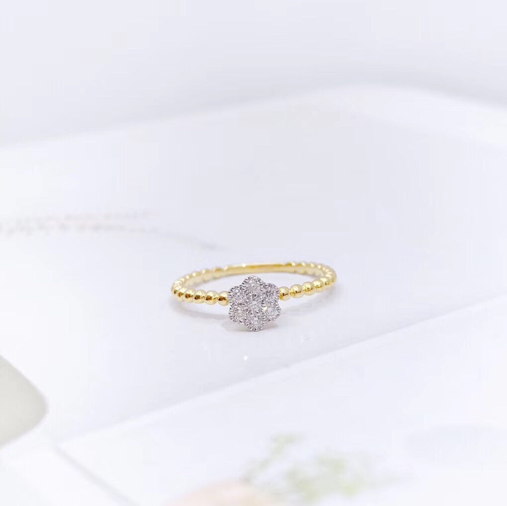 18k gold diamond flower ring - Xingjewelry