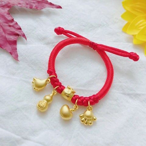 Solid gold children kid fu footprint charm bracelet
