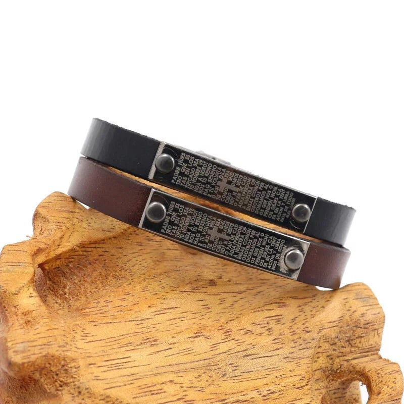 Leather black brown bangle bracelet with metal buckle - Xingjewelry
