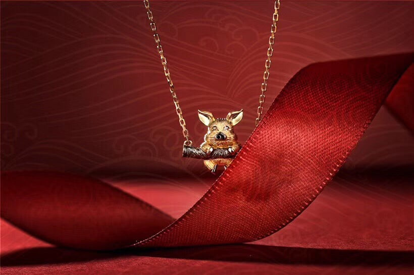 18k gold/black gold pig pendant necklace - Xingjewelry
