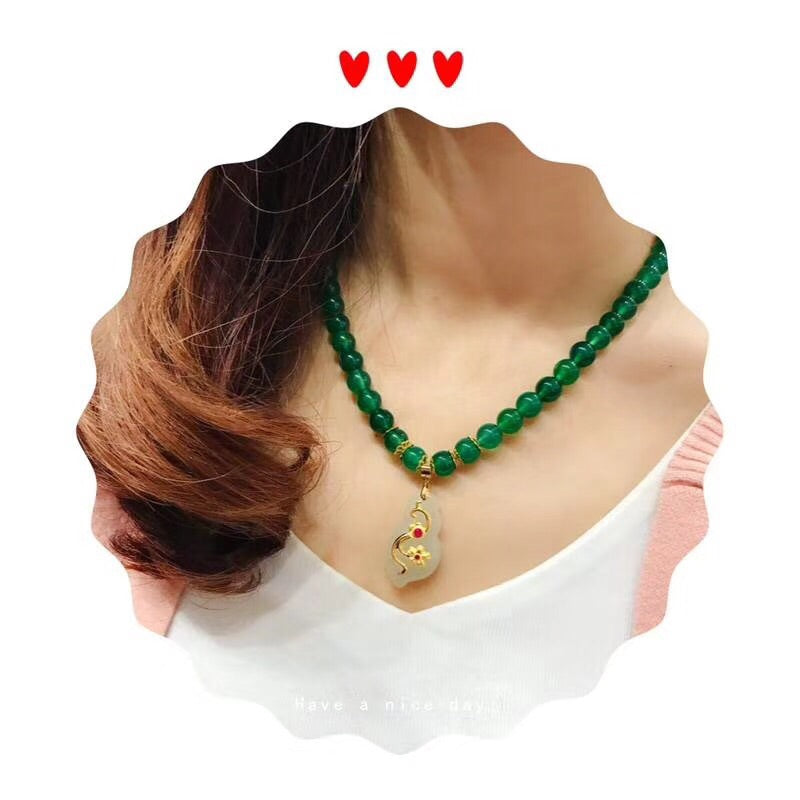 18k gold green/white jade necklace - Xingjewelry