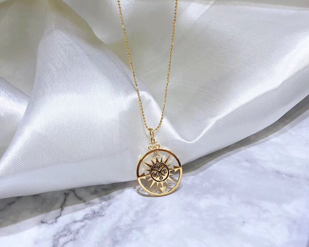 18k gold compass necklace - Xingjewelry