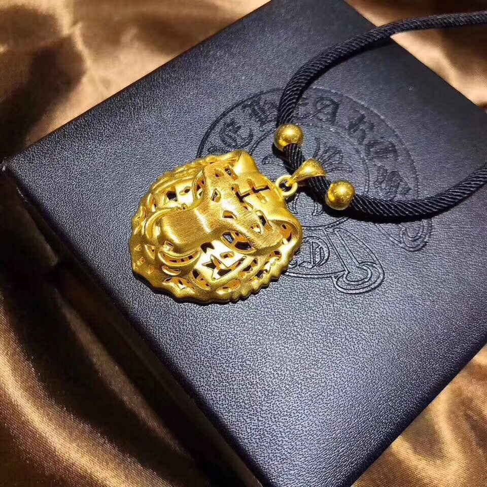 18k gold tiger head pendant necklace - Xingjewelry