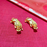 Solid gold chinese mythical animal fortune absorber 碧玺财富charm pendant