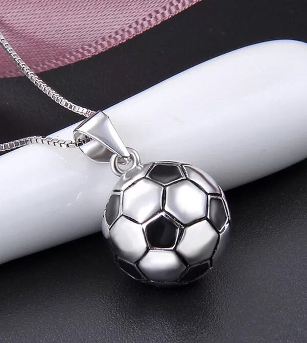 925 sterling silver football soccer pendant necklace - Xingjewelry
