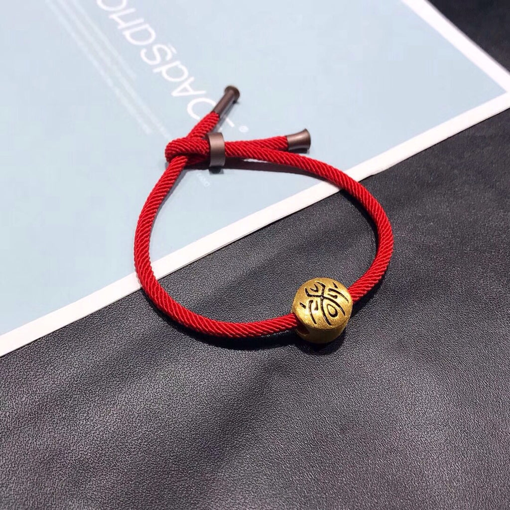 18k gold gold tattoo charm red bracelet - Xingjewelry