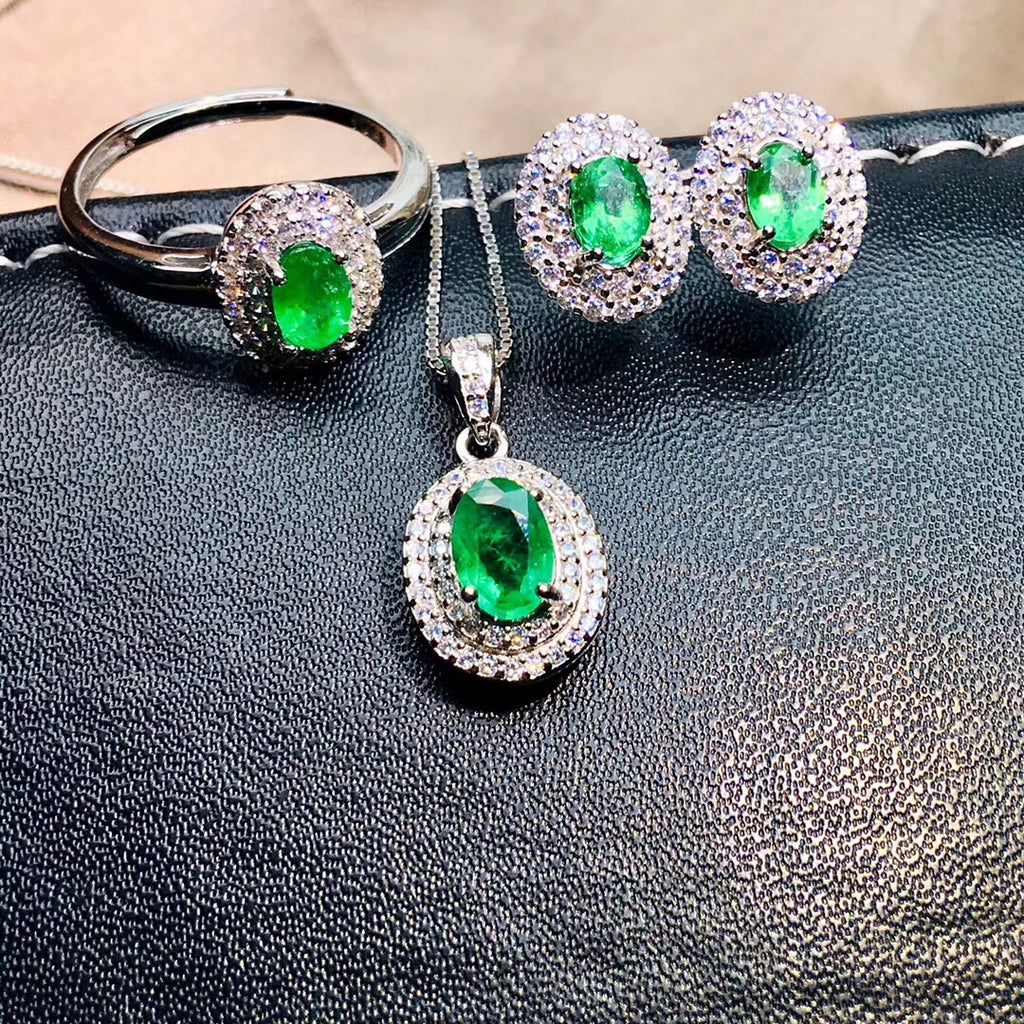 925 sterling silver emerald stone necklace earring ring set