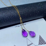 18k gold purple crystal pendant necklace