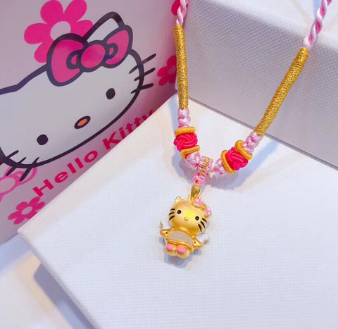 18k gold hello kitty pendant necklace