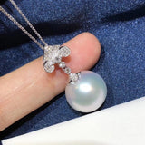 18k gold natural pearl diamond pendant necklace - Xingjewelry