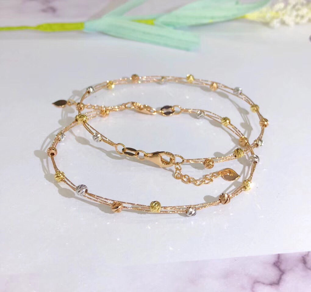 18k gold colorful gold wire bracelet - Xingjewelry