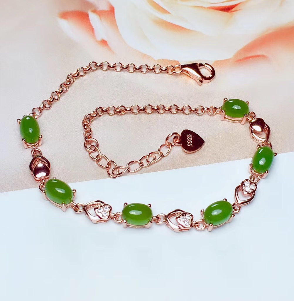 Sterling silver green jade necklace