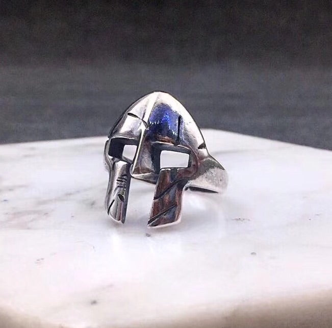 SPARTACUS MASK SILVER RING