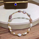 14k gold plate baroque pearl bangle - Xingjewelry