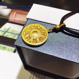18k gold round Chinese fu happiness - Xingjewelry