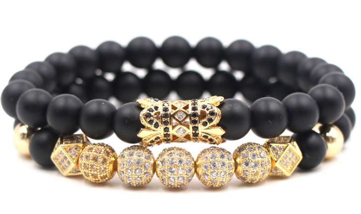 Anaceous gold zirconia stone beaded stack bracelet - Xingjewelry