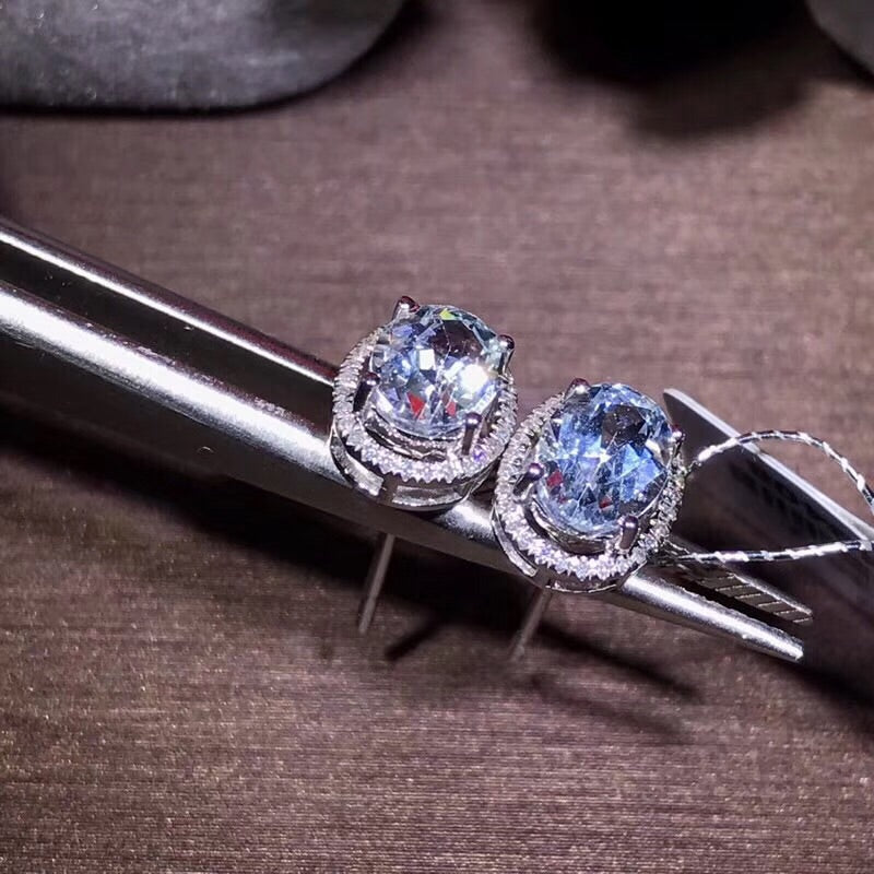 18k gold aquamarine diamond earring - Xingjewelry