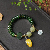 Natural green jade yellow crystal bracelet