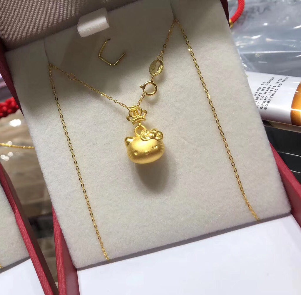 24k gold hello kitty pendant necklace - Xingjewelry