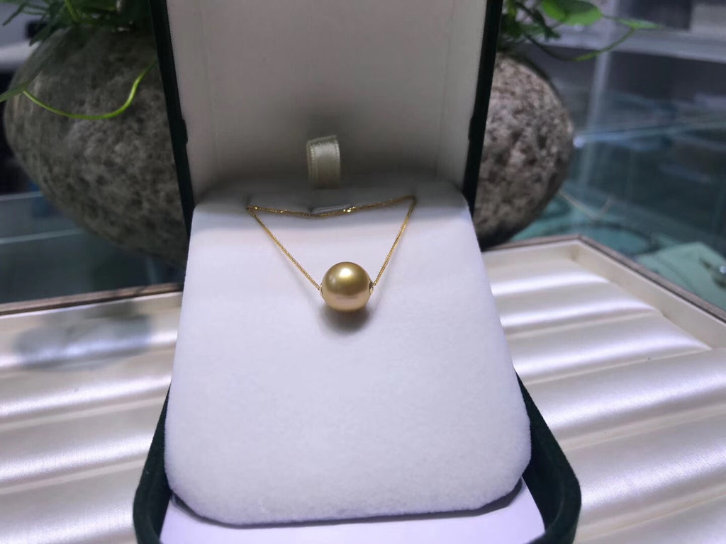 18k gold south sea golden pearl pendant necklace - Xingjewelry