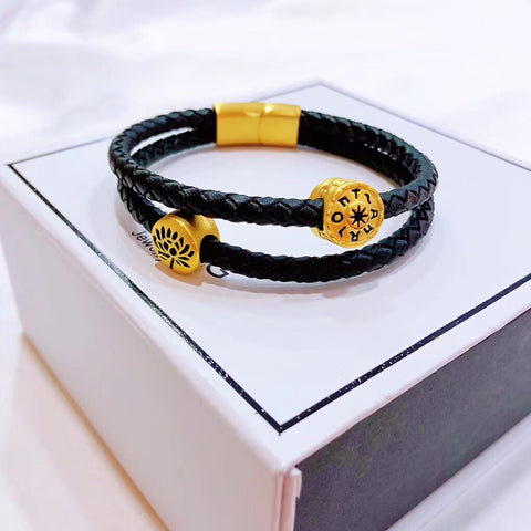 Solid gold lotus flower & tarot wheel of life black leather charm bracelet