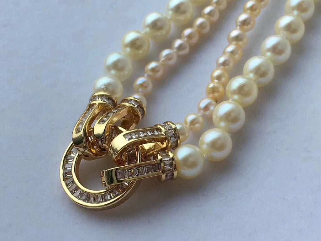18k gold akoya golden pearl necklace double circle - Xingjewelry