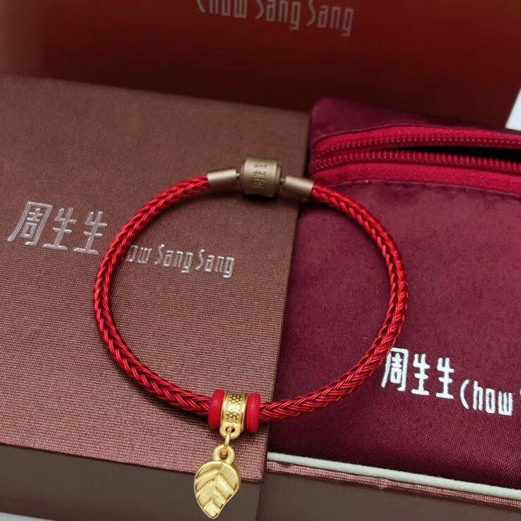 18k gold leaf red wire charm bracelet - Xingjewelry
