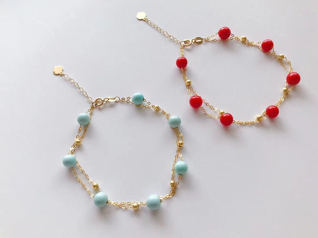 18k Gold Charm Bracelet with Coral Stone - Xingjewelry