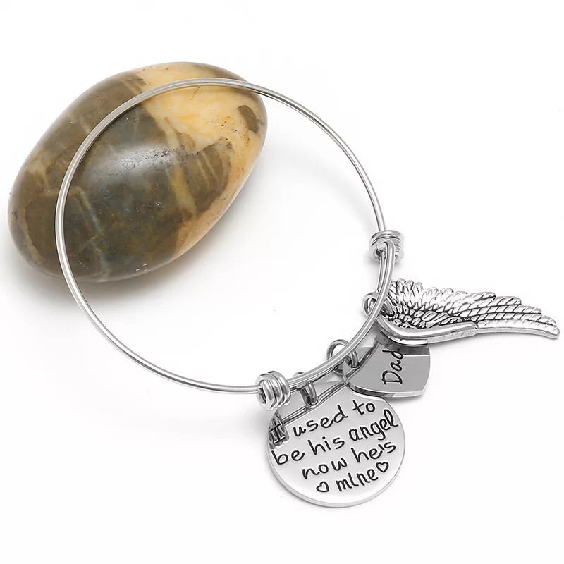 Titanium steel push bangle with dad and daughter pendant