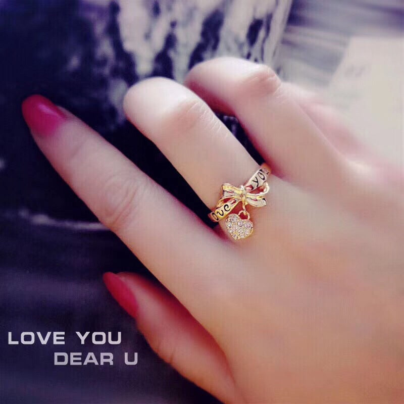 18k gold love you heart pendant ring - Xingjewelry