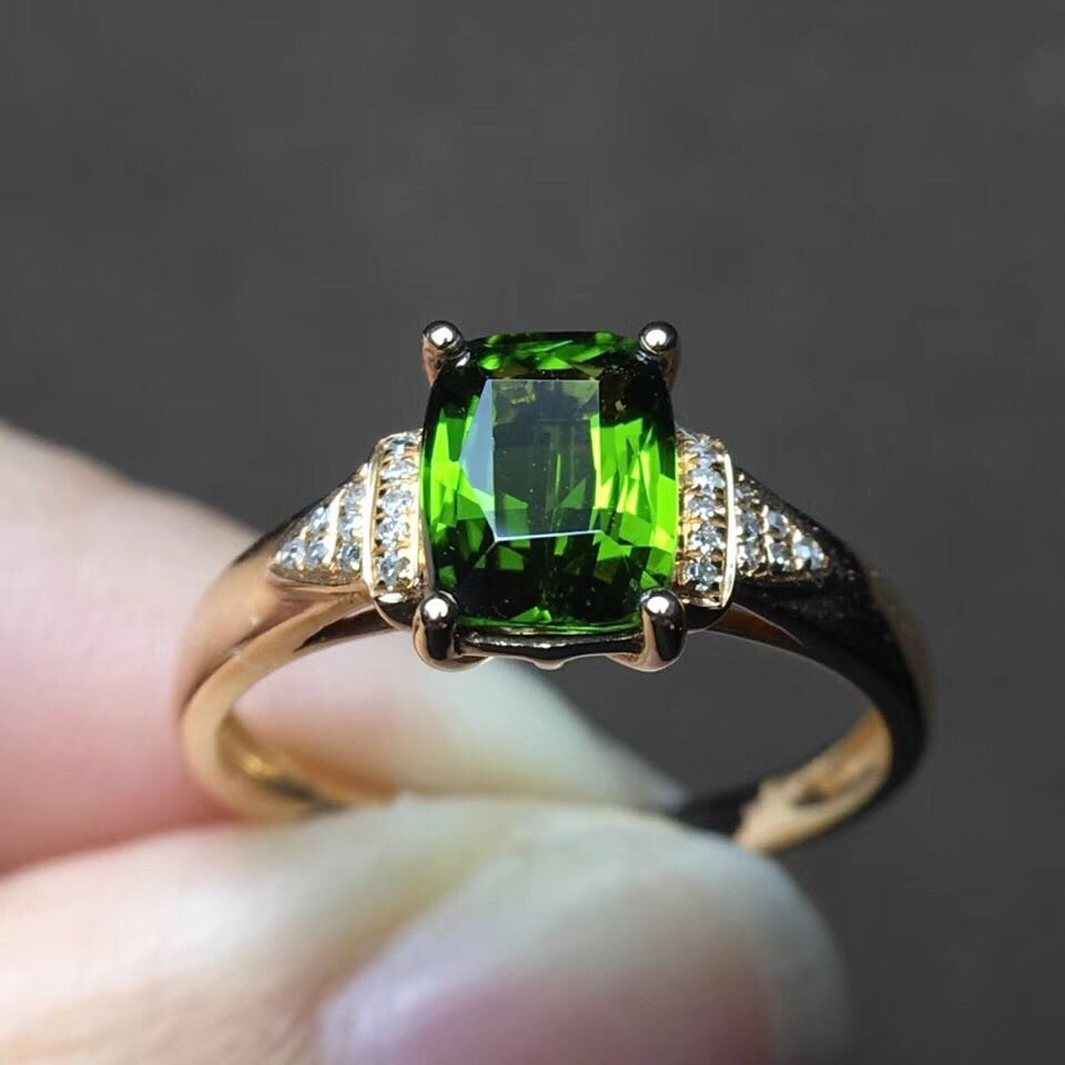 18k gold green tourmaline diamond ring - Xingjewelry
