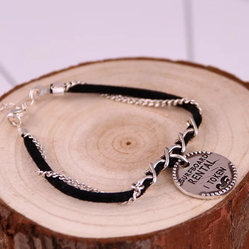 925 sterling silver leather tag bracelet - Xingjewelry