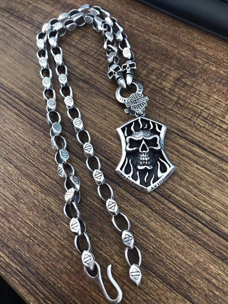 925 sterling silver skull tag necklace/sweater necklace - Xingjewelry
