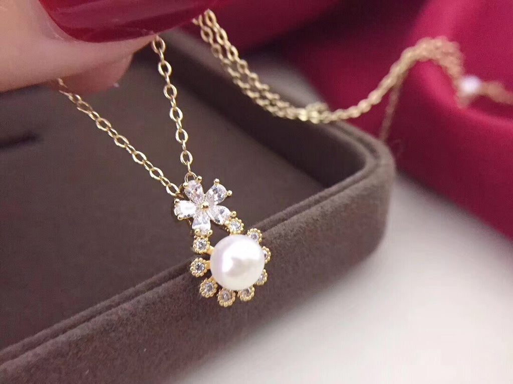 925 sterling silver flower pearl pendant necklace