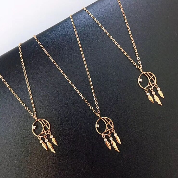 18k gold dream catcher pendant necklace