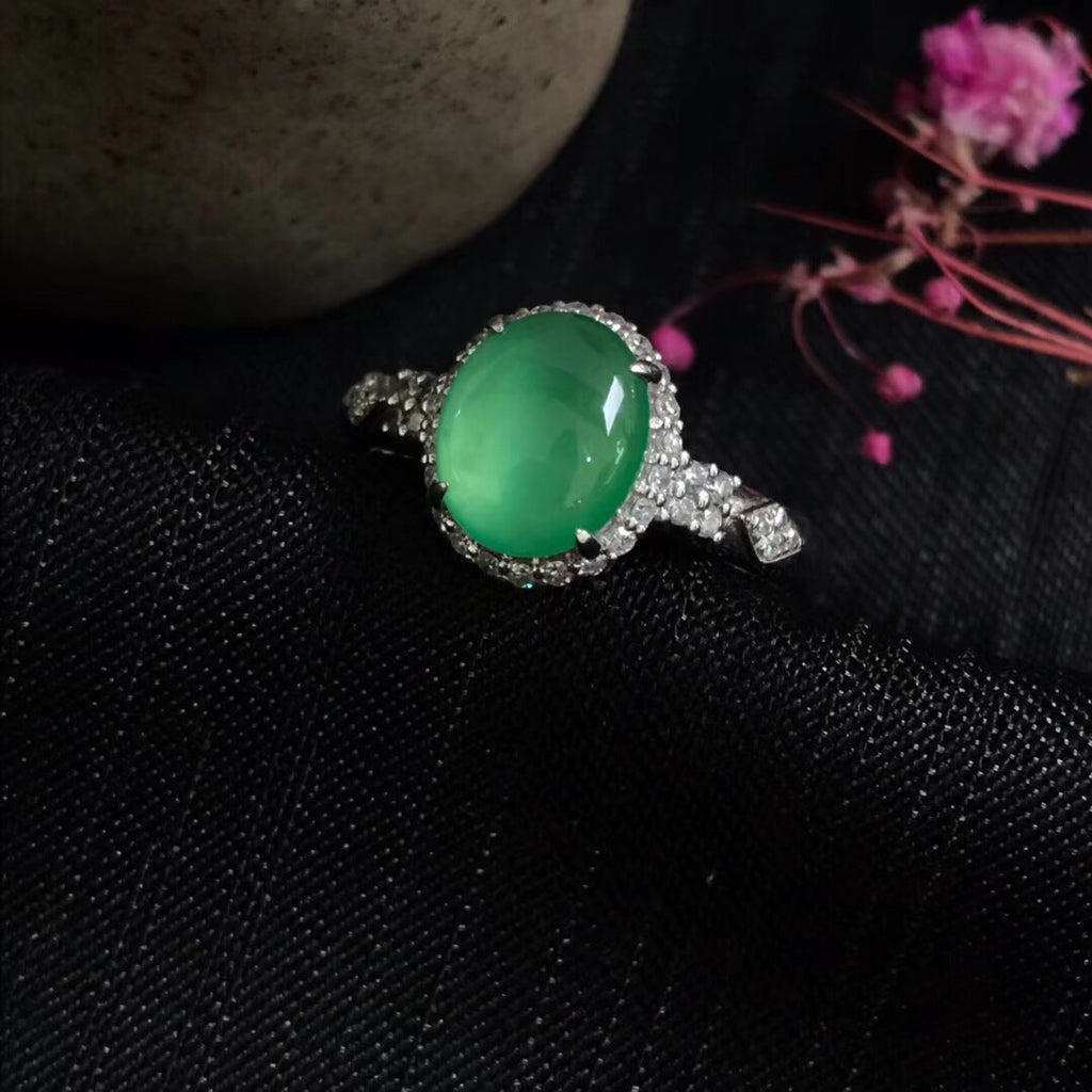 18k gold green jade ring - Xingjewelry