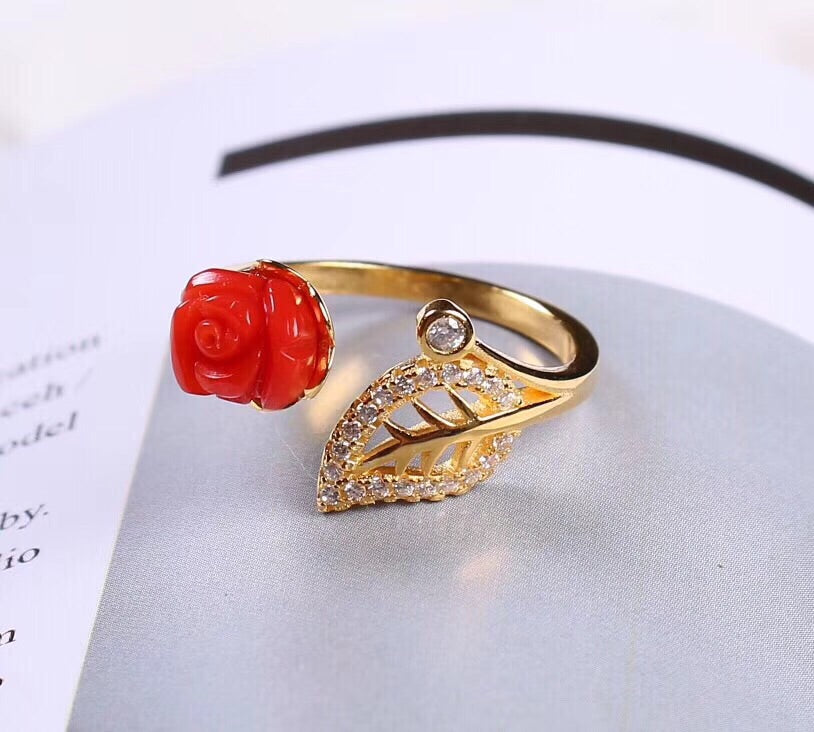 Gold plated 925 sterling silver flower open ring