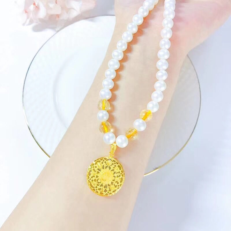 Pearl 18k gold elegant flower pendant necklace - Xingjewelry