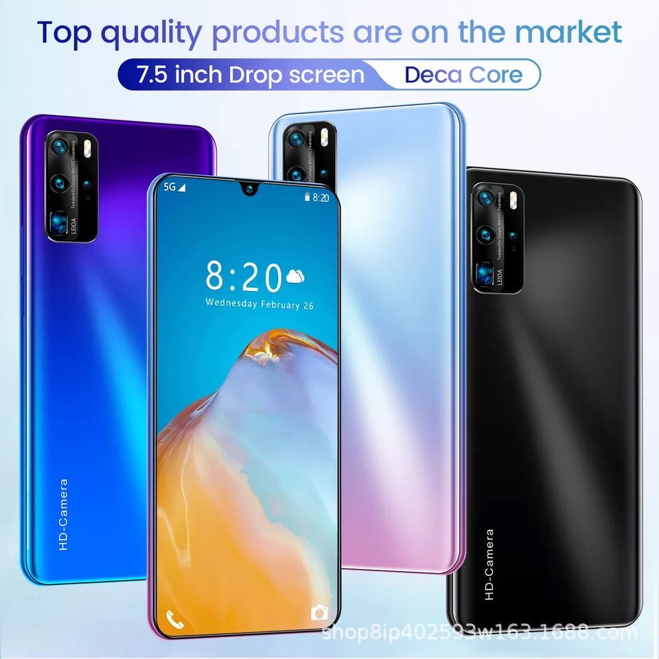 P40pro strong deca core 7.6inch big screen android phone